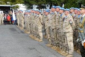 Slávnostný nástup pri príležitosti privítania profesionálnych vojakov Ozbrojených síl (OS) SR , ktorí sa vrátili z mierovej misie OSN UNFICYP v priestoroch výstaviska Agrokomplex v Nitre 3. októbra 2019.