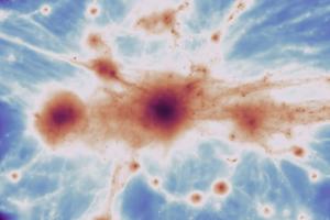 Počítačová simulácia kozmickej pavučiny.