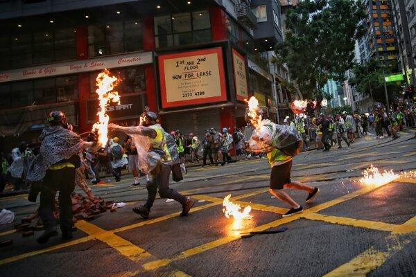 Demnoštrácia v Hongkongku.