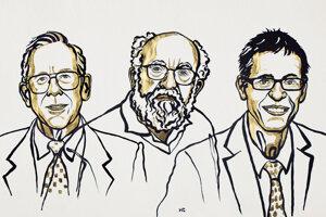 Laureáti Nobelovej ceny za fyziku pre rok 2019. Zľava: James Peebles, Michel Mayor a Didier Queloz.