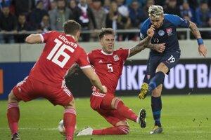 Juraj Kucka v zápase Slovensko - Wales (kvalifikácia EURO 2020).
