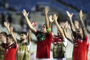 Futbalisti Ruska oslavujú postup na EURO 2020 po víťazstve nad Cyprom.
