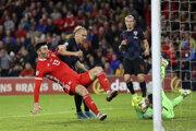 Momentka zo zápasu Wales - Chorvátsko v kvalifikácii EURO 2020.