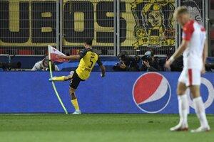 Momentka zo zápasu Slavia Praha - Borussia Dortmund.
