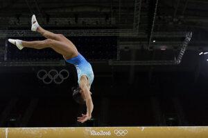Uzbecká gymnastka Oxana Čusovitinová.