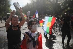 Protivládne protesty v Santiagu 26.októbra 2019.
