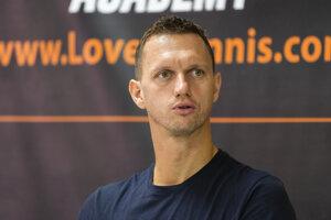 Slovenský tenista Filip Polášek počas tlačovej konferencie po prebojovaní sa spolu s Chorvátom Ivanom Dodigom na Turnaj majstrov v Londýne.