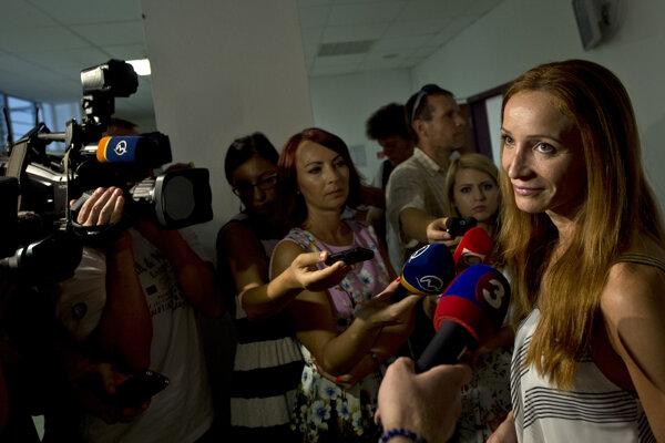 Eva Z. po vynesení rozsudku v budove Špecializovaného trestného súdu v Pezinku, 13. augusta 2015.