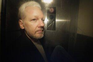 Julian Assange na ceste z britského súdu v máji 2019.