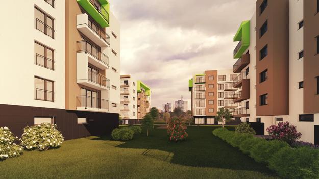 K bytovým domom bude postavené detské ihrisko a oddychová zóna s množstvom zelene.