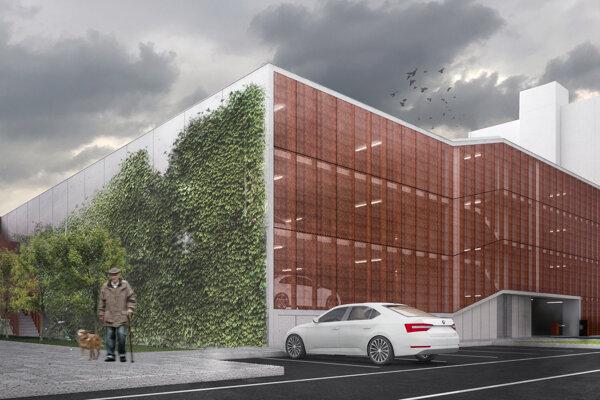 Vizualizácia parkovacieho domu, ktorý chce investor postaviť na Novozámockej ulici.