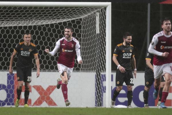 Zápas K-skupiny Európskej ligy 2019/2020 Sporting Braga - Wolverhampton Wanderers.