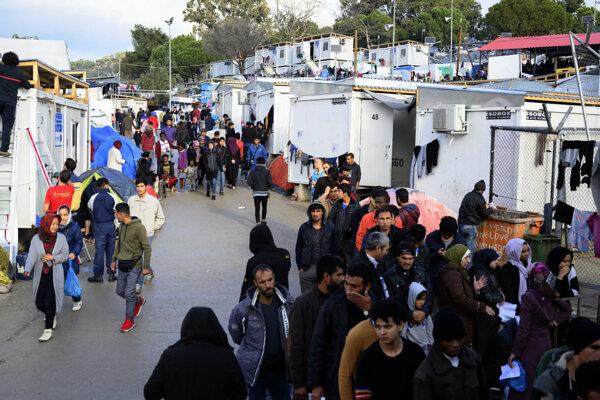 Tábor pre migrantov na gréckom ostrove Lesbos.