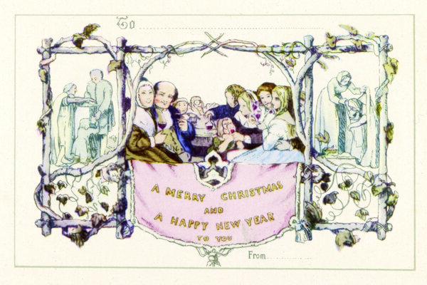 Pohľadnica sira Henryho Coleho. V čase jej vzniku vyvolala škandál, pretože spolu s rodinou si vínom pripíja aj malé dieťa.