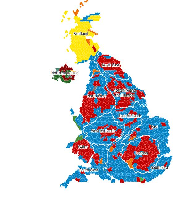 Ako volili Briti podľa regiónov.