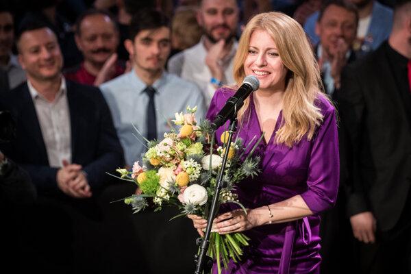 Zuzana Čaputová sa prihovára podporovateľom po volebnom víťazstva vo februári 2019.