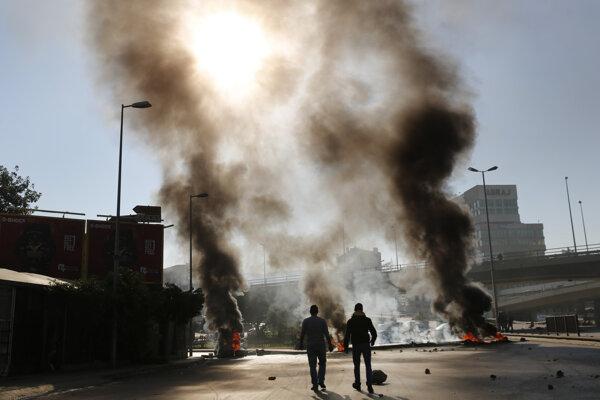 Demonštrácia v Bejrúte.