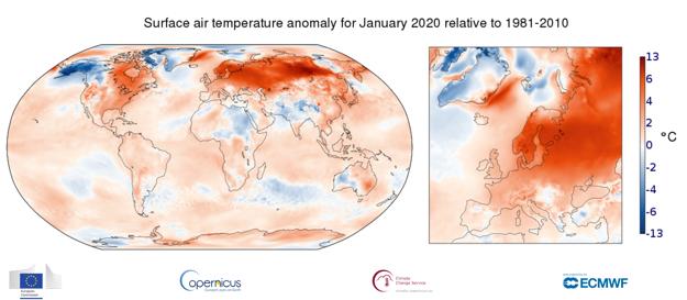 Nezvyčajne teplý január 2020 v porovnaní s obdobím medzi rokmi 1981 až 2010.