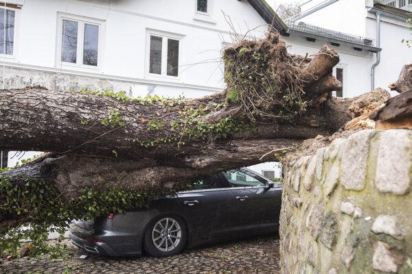 Vyvrátený strom leží na aute pre silný vietor na ulici v Hamburgu.
