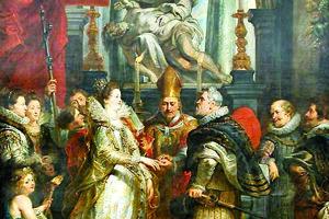 Svadba Márie Medici a Henryho IV. per proxy. Obraz Petra Paula Rubensa.