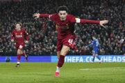 Hráč FC Liverpool Curtis Jones oslavuje gól v zápase FA Cupu.