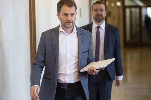 Poslanci Národnej rady SR Igor Matovič a Marek Krajčí (obaja OĽaNO).