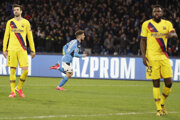 Dries Mertens sa raduje v zápase SSC Neapol - FC Barcelona.