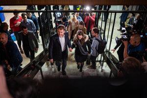 Voľby 2020: Igor Matovič prichádza do volebnej centrály.