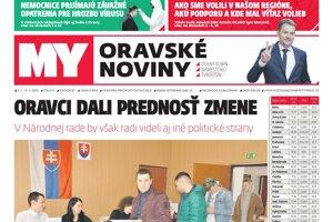 Povolebné vydanie týždenníka MY Oravské noviny.