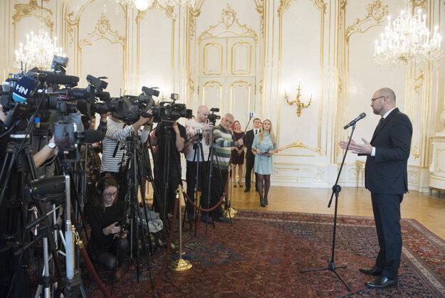 Voľby 2020: Richard Sulík počas brífingu s novinármi po stretnutí s prezidentkou Zuzanou Čaputovou.