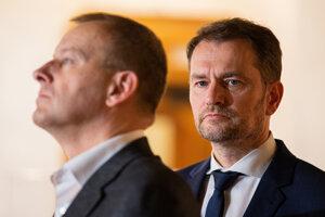 Boris Kollár a Igor Matovič na spoločnej tlačovej konferencii.
