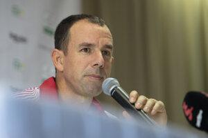 Kapitán daviscupového tímu Slovenska Dominik Hrbatý počas tlačovej konferencie.