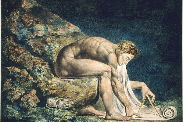"Isaac Newton zobrazený ako ""božský geometer"" na maľbe od Williama Blakea."
