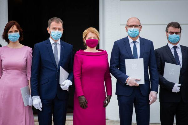 Ministerka Remišová, premiér Matovič, minister Sulík a podpredseda vlády Hollý.