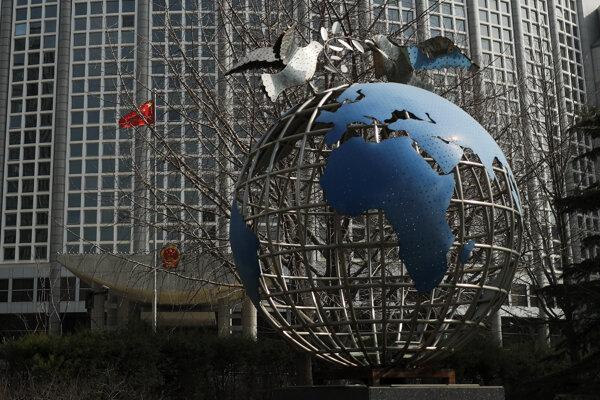 Sídlo ministerstva zahraničných vecí v Pekingu 18. marca 2020.