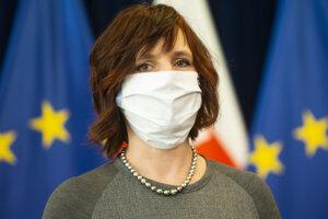 Podpredsedníčka vláda pre investície a informatizáciu Veronika Remišová na utorňajšej tlačovej konferencii.