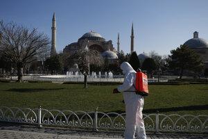 Dezinfečné opatrenia pri známej istanbulskej pamiatke Hagia Sofia.