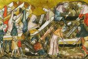 Pochovávanie mŕtvych počas morovej epidémie v belgickom meste Toumai zachytil v 14. storočí Piérart dou Tielt.