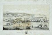 Litografia s idealizovaným vyobrazením vypáleného Lučenca (zbierka NMG)