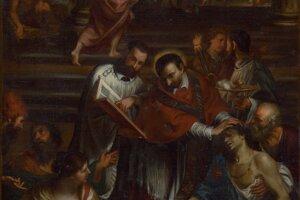 Replika Giovanniho Bonattiho: Sv. Karol Borromejský medzi chorými postihnutými morom, 1673 – 1675. Reprodukcia oltárneho obrazu oratoriánskeho Chrámu Santa Maria in Vallicella v Ríme.