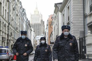 Hliadka ruskej polície v Moskve.