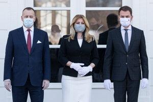 Prezidentka Zuzana Čaputová sa stretla s premiérom Igorom Matovičom a predsedom parlamentu Borisom Kollárom.
