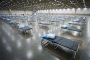 Poľná nemocnica v Kongresovom centre Kay Bailey Hutchison, ktorú zriadili príslušníci Národnej gardy Texasu v utorok 31. marca 2020 v Dallase.