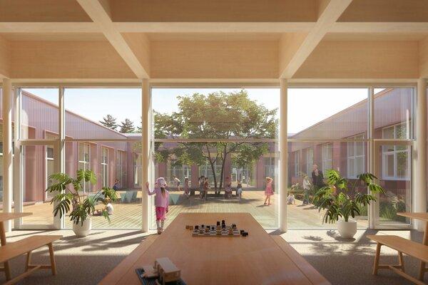 Vizualizácia novej podoby školy v Lozorne.