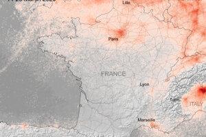 Koncentrácie NO2 nad Francúzskom v marci 2020. V krajine platia prísne karanténne opatrenia od 17. marca 2020. Obyvatelia môžu opustiť domov len v nevyhnutných prípadoch