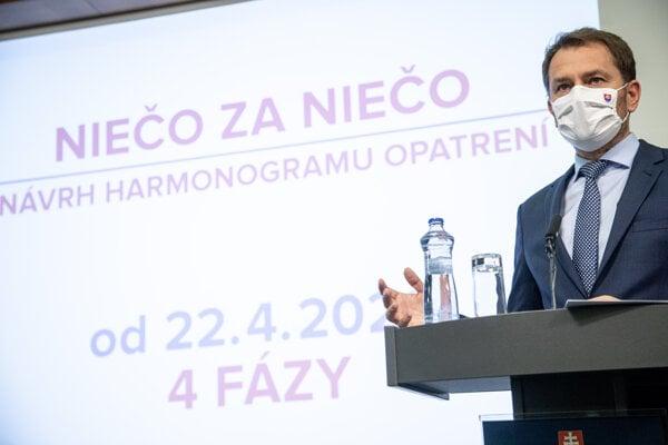 Igor Matovič predstavil harmonogram otvárania prevádzok.
