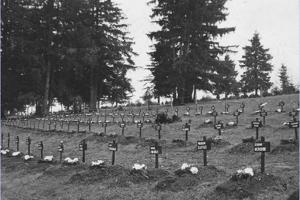 Hroby na Háji po skončení exhumácií v novembri 1950.