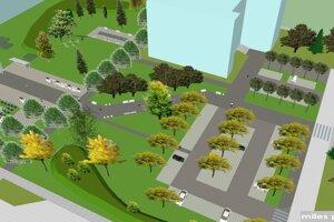 Vizualizácia obnovy priestranstva v areáli medzi budovami univerzity.