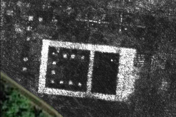 Radarová snímka jedného chrámu v meste Falerii Novi, ktoré je pod zemou. Vedci po prvýkrát zmapovali pochované mesto bez toho, aby vykopali čo i len jednu jamu.