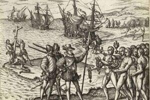 Kolumbus pristáva pri amerických brehoch a vztyčuje kríž. Ako neviditeľný predvoj kultúrnej genocídy prináša aj ničivé mikrobiologické zmeny.